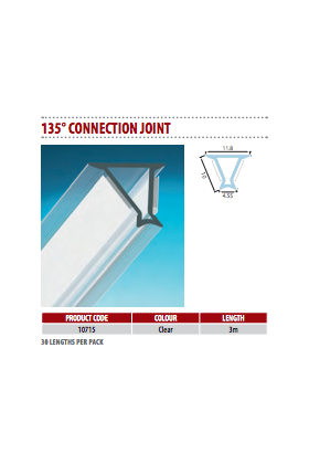 (10mm) Glass Partition Joint Strip135° Connection Dry Joint (10 pieces)
