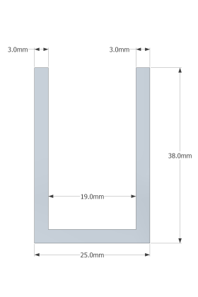 (38mm) 3 Meter Glass Partition U channel