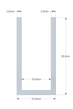 (50mm) 3 Meter Glass Partition U channel (BLACK)