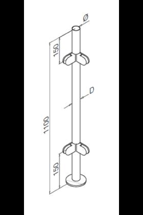 Stainless Steel Balustrade Corner Post - no handrail