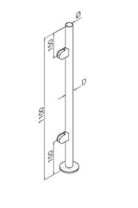Stainless Steel Balustrade End Post no handrail