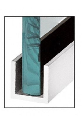 (24mm) 3 Meter Glass Partition U-Channel (Silver Grey)