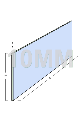 Toughened Glass Panel (2490mm x 250mm x 10mm)